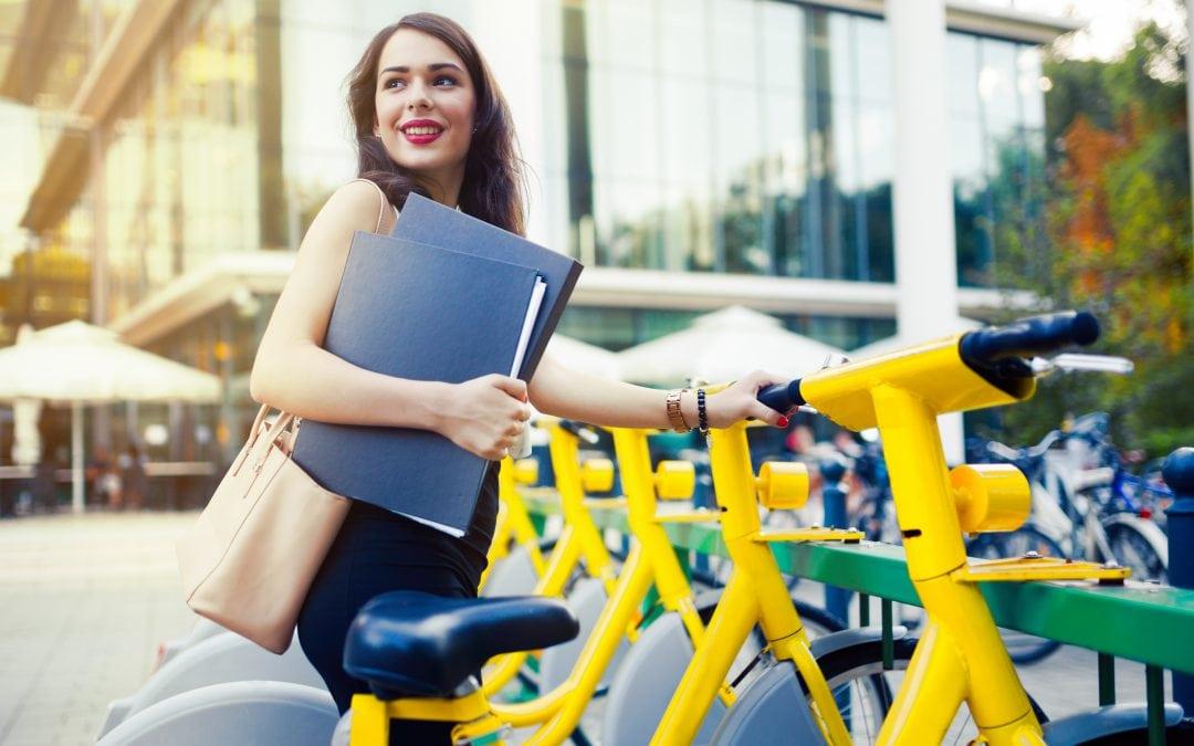 Woman at bicycle rideshare