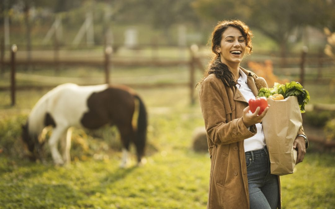 Woman holding paper bag full of groceries, standing near horse