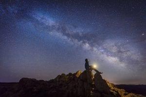 Man sitting under the Milky Way