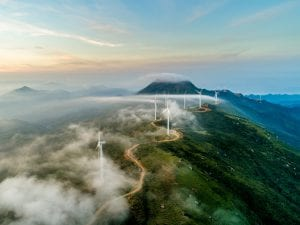 Wind turbines show green tech and green energy generation