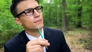 Environmental expert considering his next article