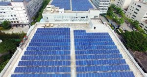 Solar panels installed on green construction project