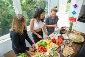 Women preparing a vegan or plant-based meal