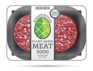 Plant Based Meat in Package Isolated on White. Vegan Concept.